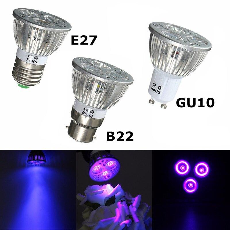 3W LED Grow Light E27 B22 GU10 UV Ultraviolet Purple LED Spotlight Bulb Plant Lamp For Greenhouse Hydroponics System AC85-265V