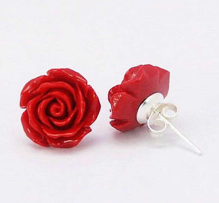 720>> แฟชั่นเครื่องประดับ 12mm Coral Red Rose ดอกไม้ 925 เงินสเตอร์ลิงต่างหู