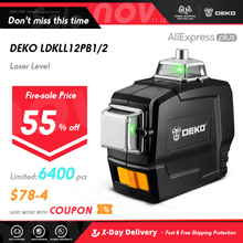 DEKO DKLL12PB Series 12 Lines Nivel Laser 360 Autonivelante Green Laser Level Horizontal