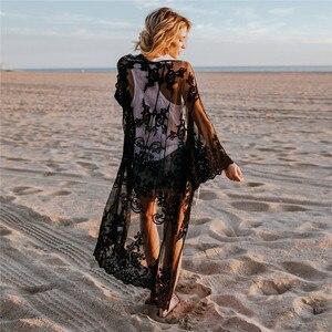 Image 5 - 2020 תחרה החוף לחפות Pareo חוף כיסוי למעלה Playa Pareo טוניקות עבור החוף בגדי ים נשים תחרה חוף שמלה # Q649