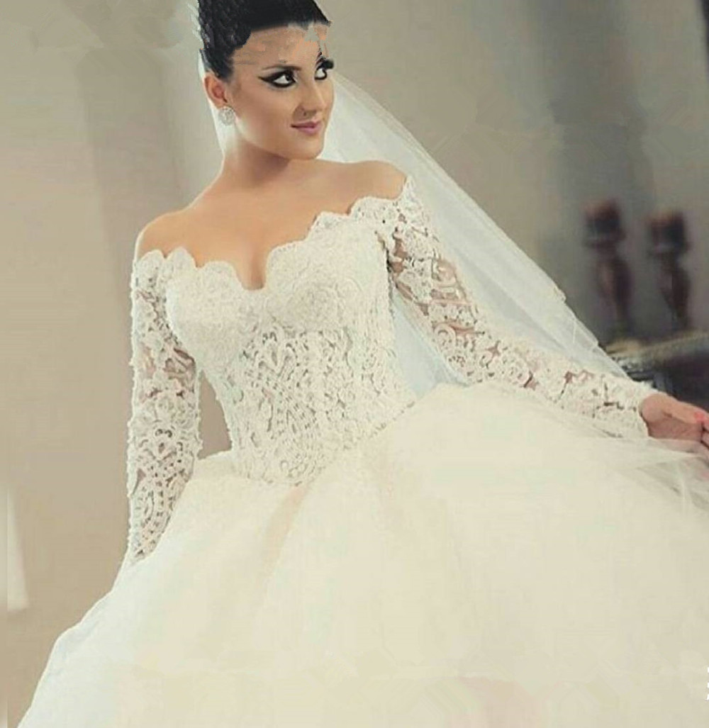 Vestido De Noiva Sweetheart Long Sleeve Bridal Ball Gown 2018 Lace Applique Princess Robe De Mariage Mother Of The Bride Dresses