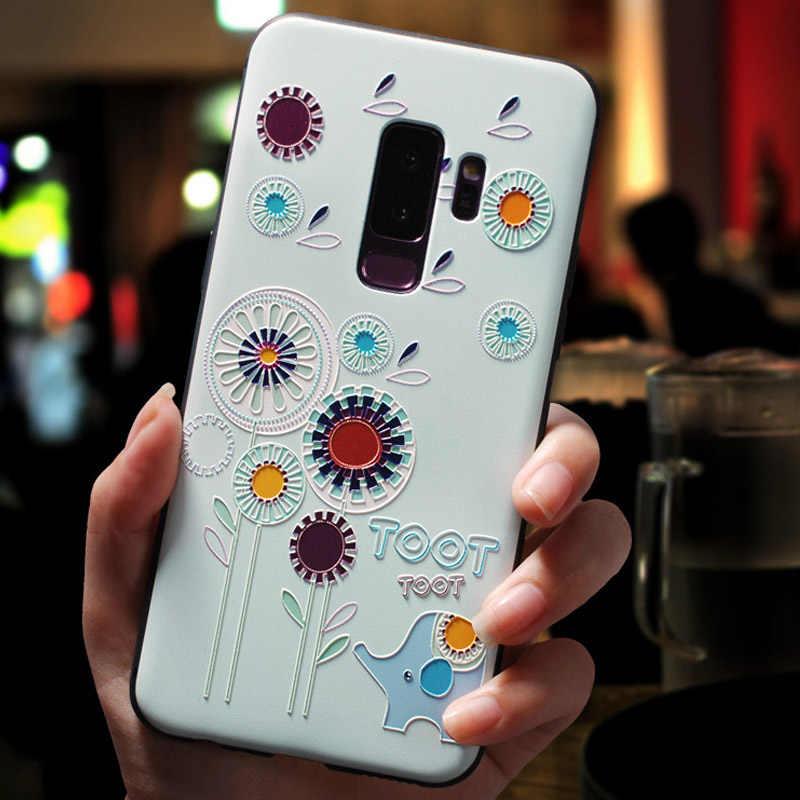 Para Huawei P Smart Case 2018 3D flor relieve silicona fundas de teléfono para Huawei P Smart 2019 PSmart Plus Nova 3 3i 5 Nova3 Capa