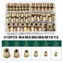 210PCS Carbon Steel Rivnuts Flat Head Threaded Rivet Insert Nutsert Cap Rivet Nuts M4/M5/M6/M8/M10/12 Assortment Kit