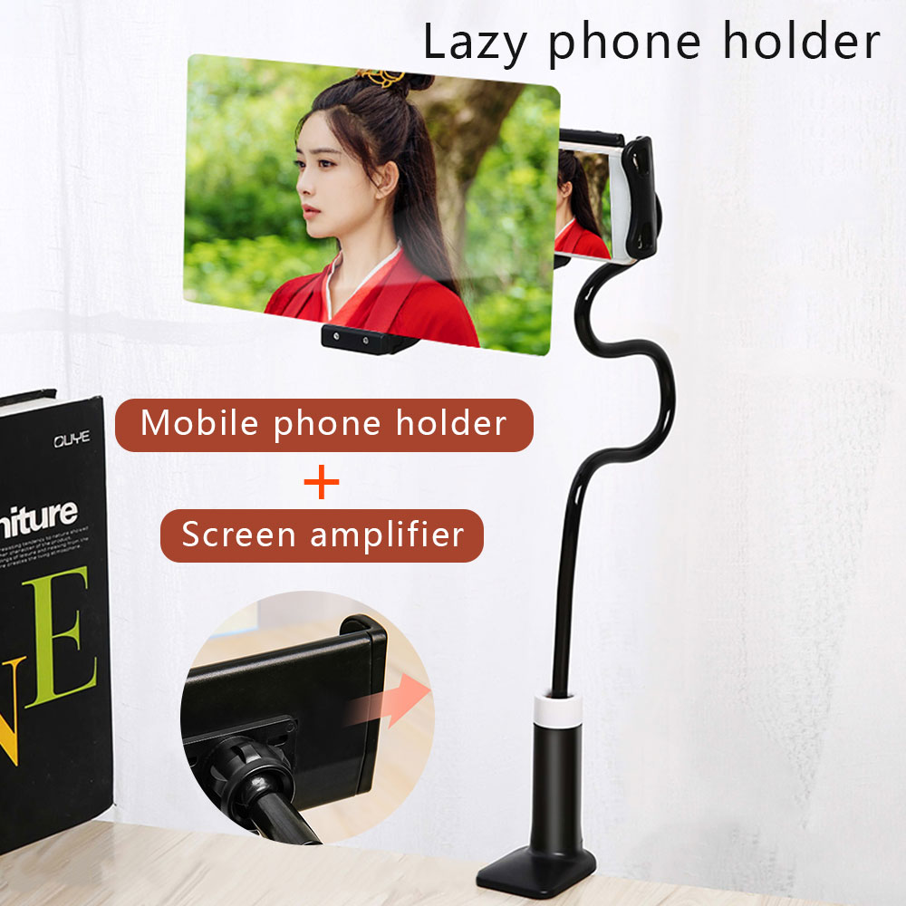 8/12 Inch 3D Screen Amplifier Mobile Phone Magnifying Universal 360 Rotating Flexible Long Arm Lazy Phone Holder Desk Stand