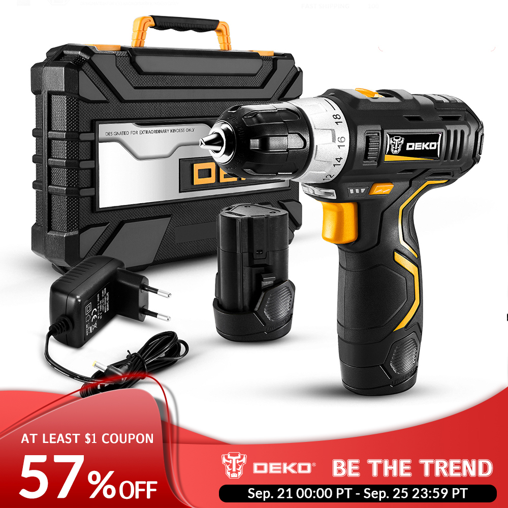 DEKO Power-Driver Battery Cordless-Drill Lithium-Ion DC Max 3/8-Inch 12V 2-Speed