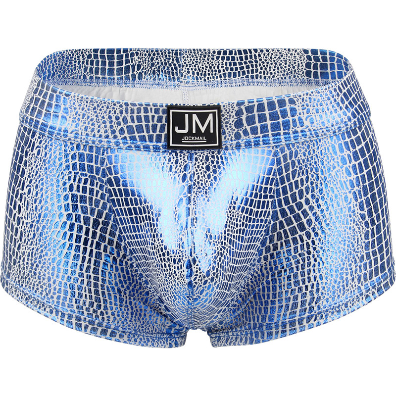 Jockmail Sexy Underwear Men Boxer Snake Skin Leather Gay Men Underwear Penis Pouch Boxer Men Cueca Boxer Masculina Slip For LGBT