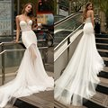 2020 Wedding Dresses Sweetheart Lace Appliques Bridal Gowns Custom Made Backless Sweep Train A-Line Wedding Dress