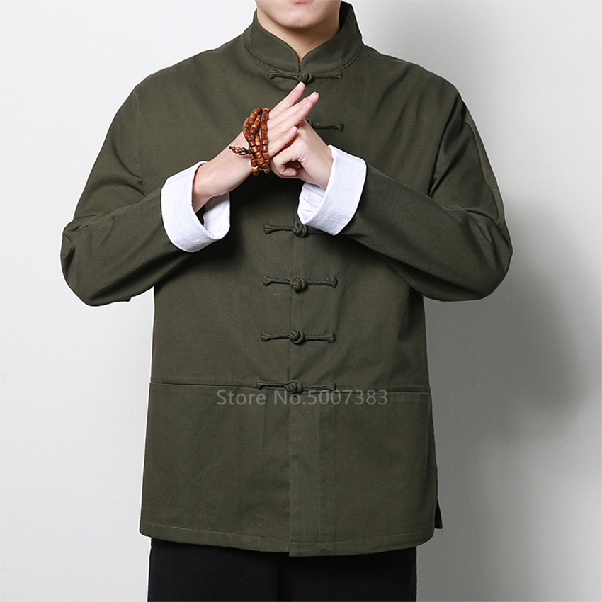 Traditional Chinese Clothing for Men Hanfu Vintage Tang Suit Mandarin Collar Full Sleeve Chinese Top Kung Fu Vintage New Year