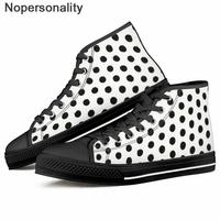 Nopersonality Polka Dot Print Women Canvas Shoes Autumn Casual Flats Vulcanize Shoes Lace Up Female Fashion Ladies Sneakers