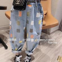 Pants Spring Patchwork Girls Boys Kids Fashion Denim New 3-8t A483 Wholesale