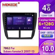8core 6GB + 128GB Carplay + Auto API29 Auto Multimedia-Player für Subaru Forester 3 SH 2007 - 2013 Radio Navigation GPS 4G LTE DSP BT