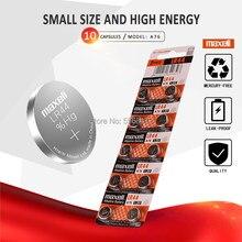 10pcs/1Packs Para 44 LR44 SR1154 A76 AG13 0% Hg 357 LR Maxell Célula de bateria 1.5V baterias Para calculadora 0% Hg