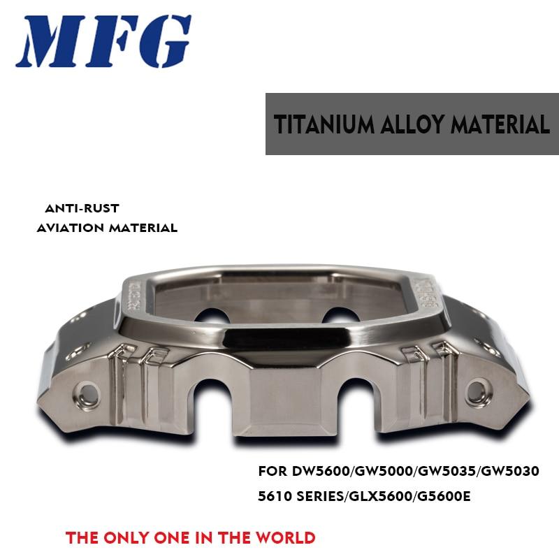 Titanium alloy watchband bezel/กรณี DW5600 GW5000 GW M5610 สายโลหะเหล็กเข็มขัดเครื่องมือสำหรับ men/women gift-ใน สายนาฬิกา จาก นาฬิกาข้อมือ บน   1