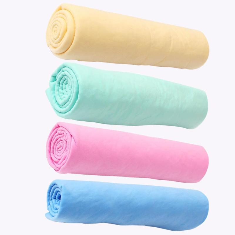 Durable Pet Bath Washing Towel Pure Candy Color Imitation Deerskin Ultra-Absorbent Towel Pet Hygiene Cleaning Supplies