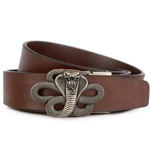 Image 3 - Men's Leather Ratchet Dress Belt with Automatic Buckle Fashion Men Automatic Buckle Belt Luxury Men`s Leather Belts alloy buckle
