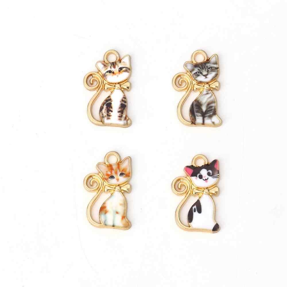 DoreenBeads น่ารักโลหะผสมสังกะสีจี้ Charms แมวสัตว์ทองเคลือบสีสันเครื่องประดับจี้ DIY หา 21 มม.x 13 MM, 2 PCS