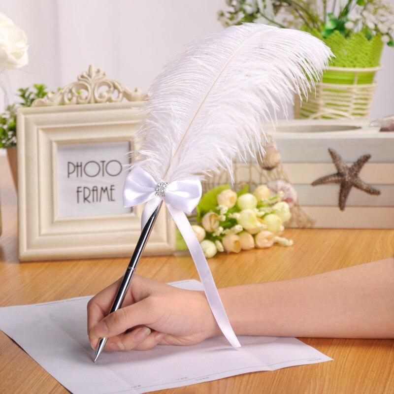 Pluma de pluma de 40cm, libro de invitados de banquete, pluma de pluma con lazo, artículos decorativos para fiestas de boda
