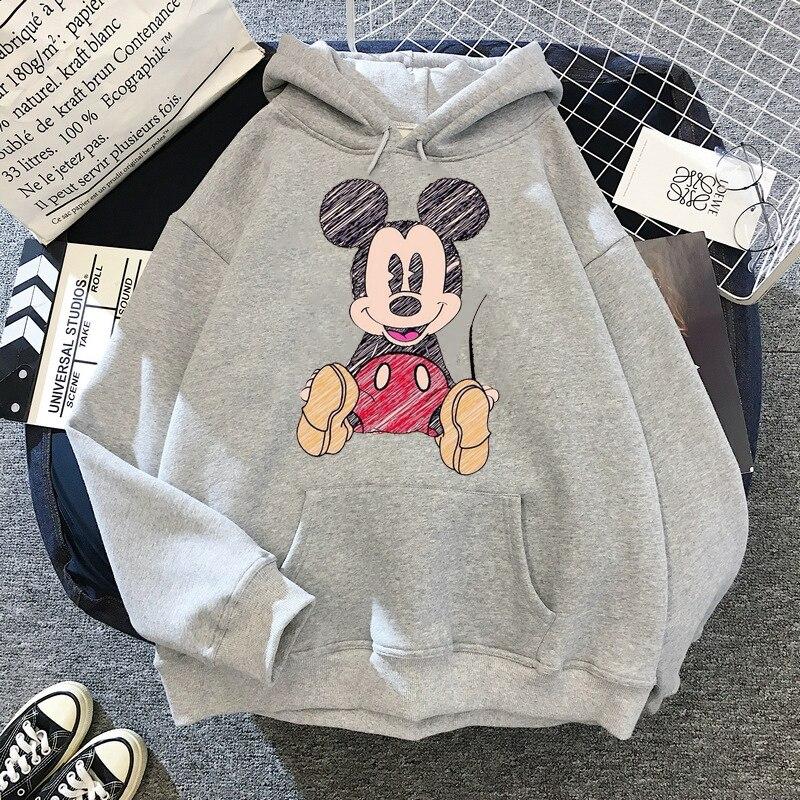 Disney 2021cartoon print sweatshirt women Funny hip hop Mickey Mouse print autumn and winter fashion Harajuku style hoodie women 14