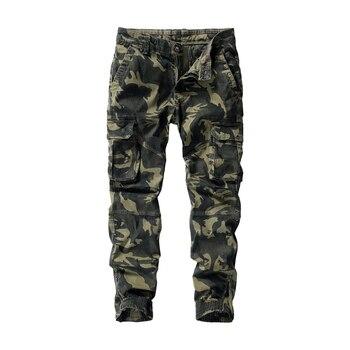 цена на Camouflage Cargo Pants Men Multi Pocket Cotton Military Camo Pants Army Track Trousers Male Streetwear Overalls Pantalon Homme