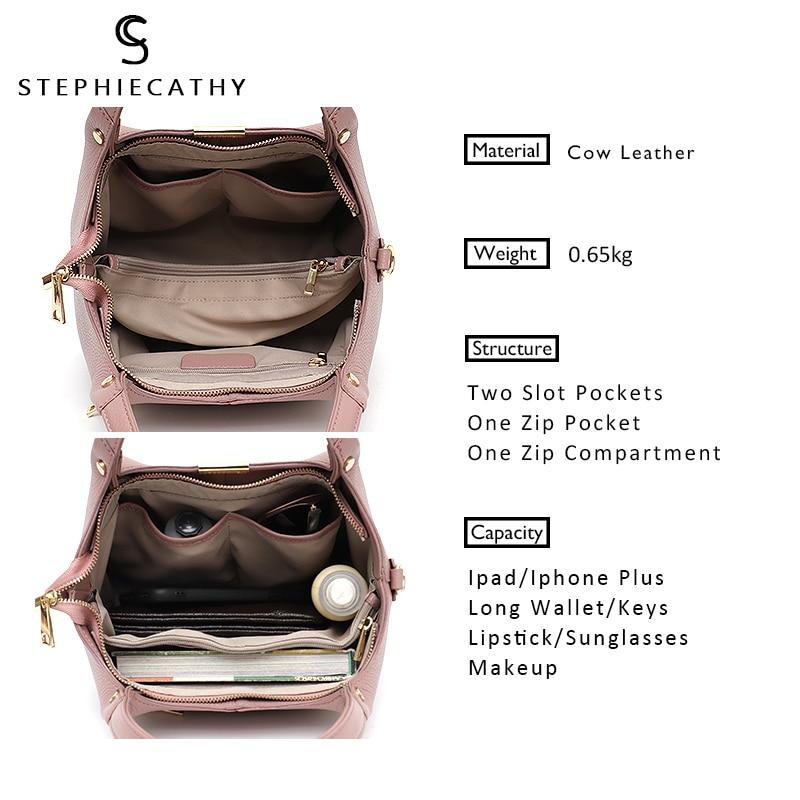 SC 100% Genuine Leather Bucket Bag Women casual Tote top-handle Shoulder Bags Brand Designer Ladies Crossbody messenger Bag