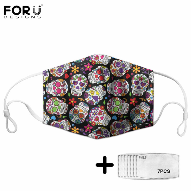FORUDESINGS Sugar Skull Brand Design Maske Adults&Kids Outdoor PM2.5 Protection Half Face Mouth Cover 7Pcs Filters Mascarilla