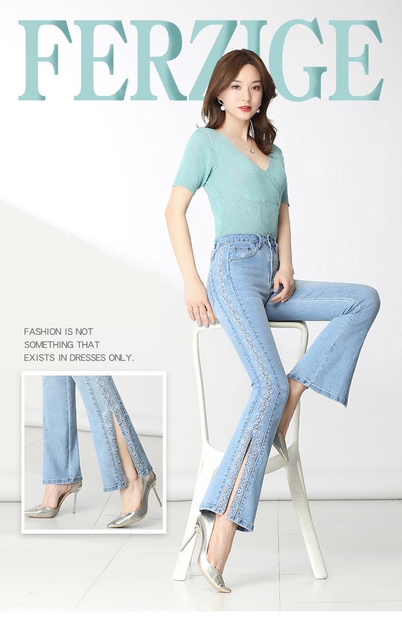 KSTUN FERZIGE Jeans Women Ligh Blue Boot Cut Embroidered Flared Pants High Waist Stretch Long Trousers Mom Jeans Push Up Big Size 36 11