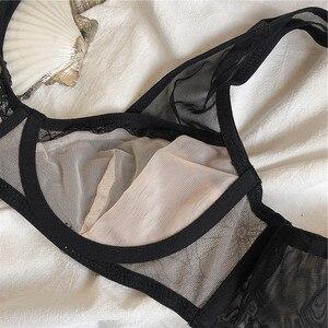 Image 5 - แฟชั่น Grenadine Bras ชุดชั้นในสตรีชุด PLUS ขนาดชุดชั้นในเซ็กซี่ C D ถ้วย Ultrathin โปร่งใสชุดชั้นในกางเกงลูกไม้ชุดสีดำ