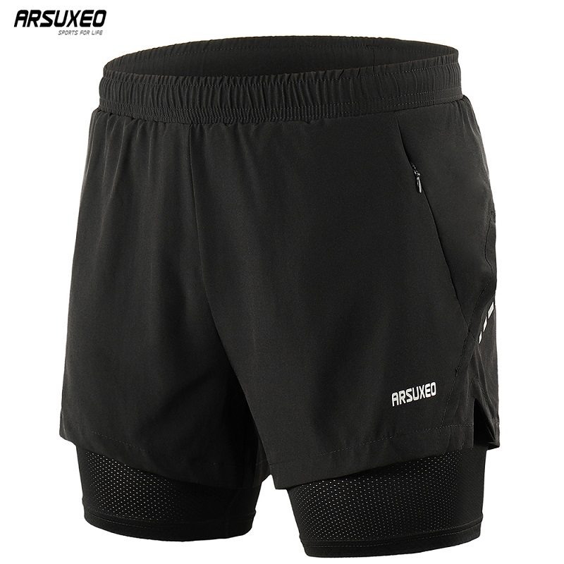 ARSUXEO 2019 Men's Running Shorts 2 In 1 Quick Dry Sports Shorts Active Training Exercise Jogging Shorts Breathable B202