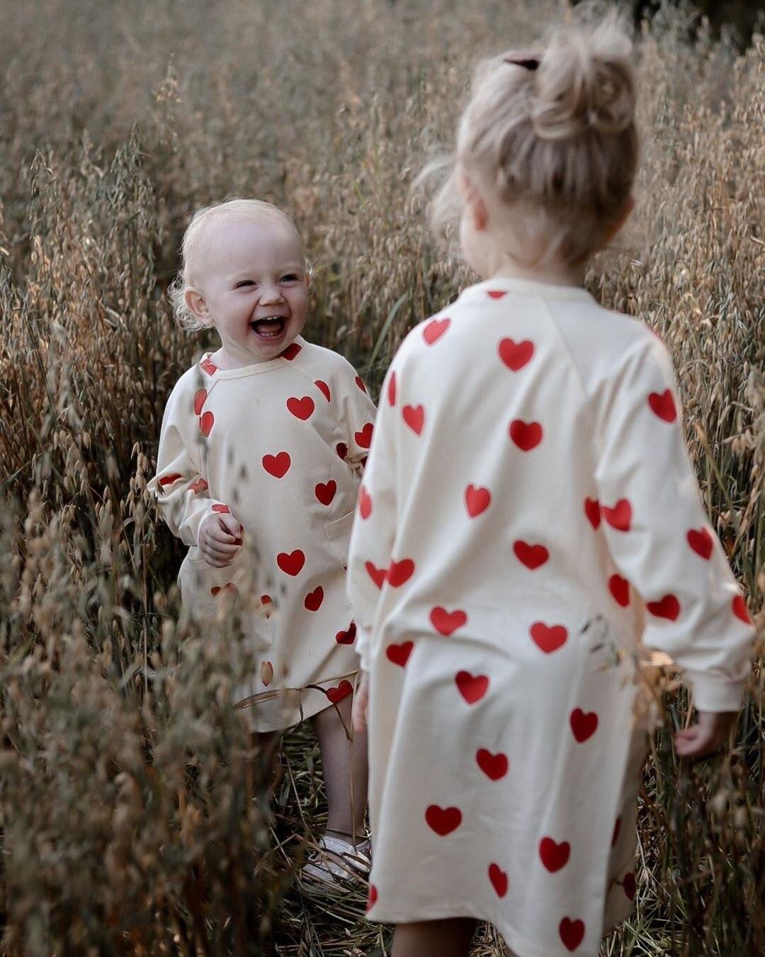 MINI Brand Kids T-shirts 2020 New Autumn Girls Heart Pattern Dress Fall Long Sleeve Cotton Fashion Baby Girl Boys Casual Dresses 5