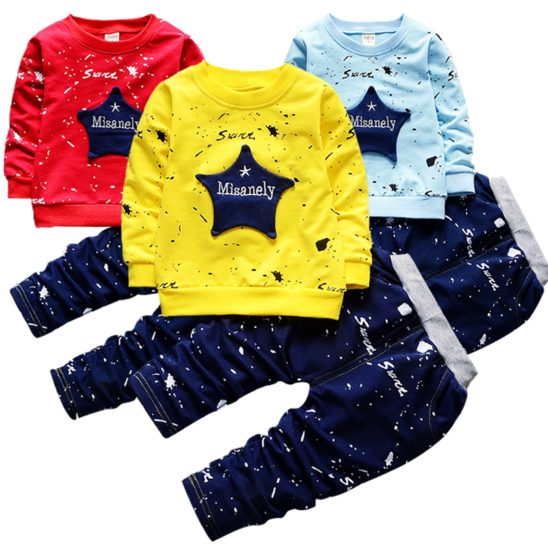 Boy Tracksuits Pants Clothing-Sets T-Shirt Spring Autumn Baby Star Cotton New