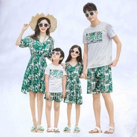 2019 Summer mother daughter matching dresses girl dress dad son outfits family clothing sets mommy and me clothes family t shirt