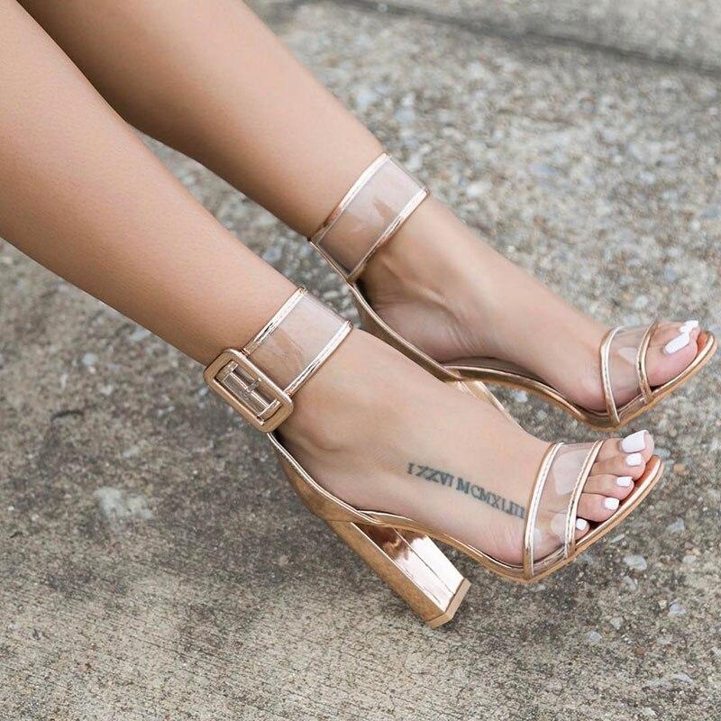Women High Heels Shoes 2020 New Spring Summer Peep Toe Buckle Strap Heels Sandals Women Sexy Transparent Sandals XWC0724