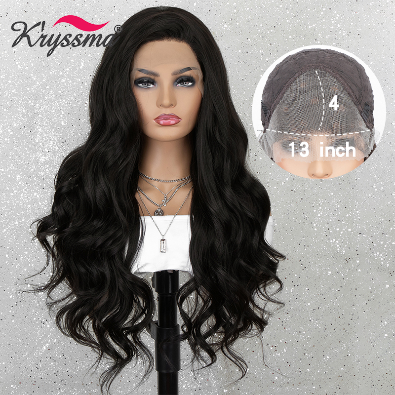 Kryssma 13*4 Natural Black Lace Front Wig Long Wavy Synthetic Wigs For Women Cosplay Wigs Heat Resistant Fiber African American