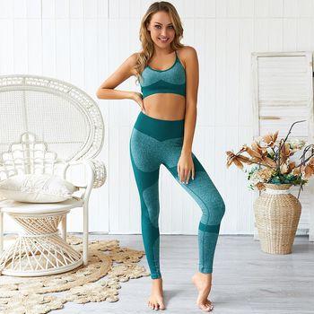 Women Gym 2pcs Shirt Leggings set Yoga Suit Halters Workout Sportware  Exercise Bra Top Female Fitness Clothing