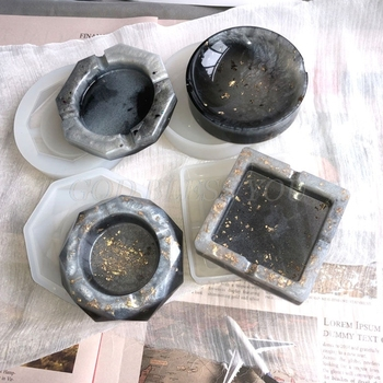 DIY okrągłe kwadratowe romb wielokąt popielniczka odlewania silikonowe formy rzemiosło narzędzia do tworzenia biżuterii przezroczysta żywica epoksydowa żywica formy tanie i dobre opinie CN (pochodzenie) GUGUJI222 Silicone