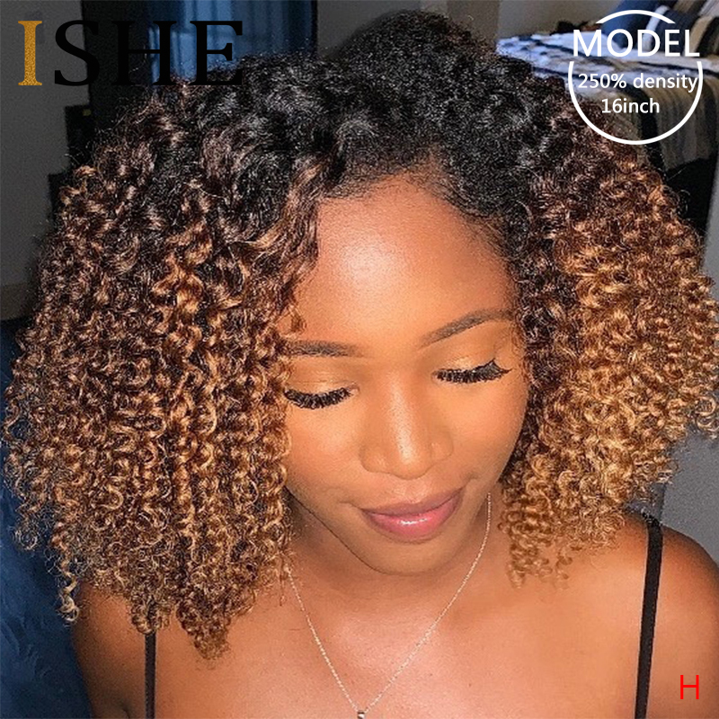 Afro crépus bouclés Ombre Blonde 13x6 dentelle avant perruques de cheveux humains pré plumé dentelle frontale perruque pour les femmes Remy noir cheveux 150 densité