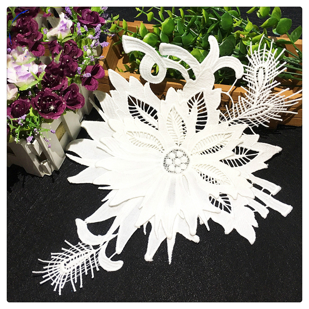 3D Embroidered Milk Silk Water Soluble Collar Flower DIY Lace Double Collar Flower