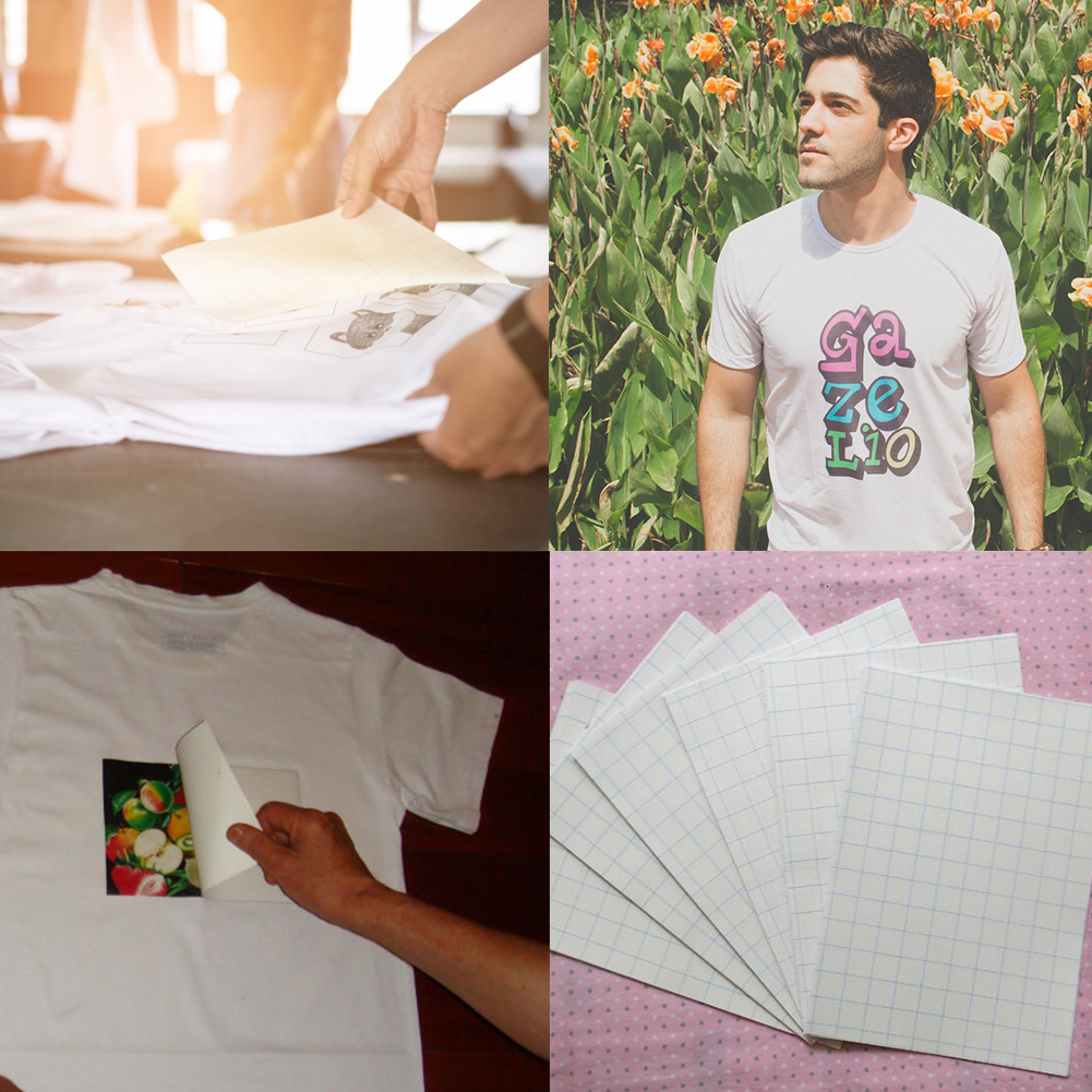 10PCS Sheets T-Shirt A4 Heat Transfer Paper Iron On Inkjet For Light Color Or Dark Black Fabrics Cloth