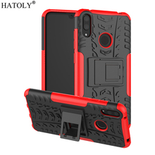 For Cover Huawei Y7 2019 Case Anti-knock Heavy Duty Hard Armor Stand Silicone Phone Bumper