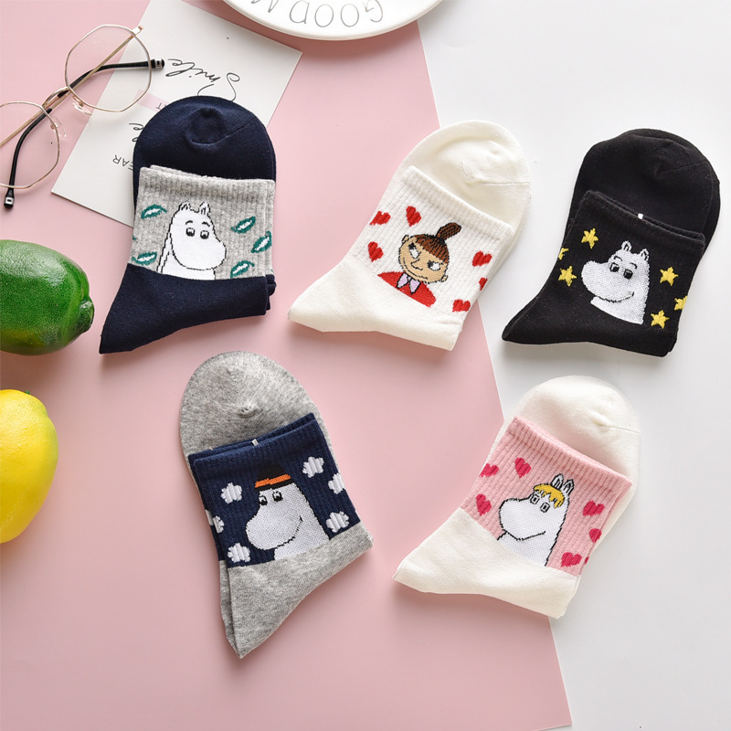 Women Cute Cartoon Character Harajuku Socks Breathable Casual New Year Gift Socks Lovely Animal Sox For Female Original Trendy