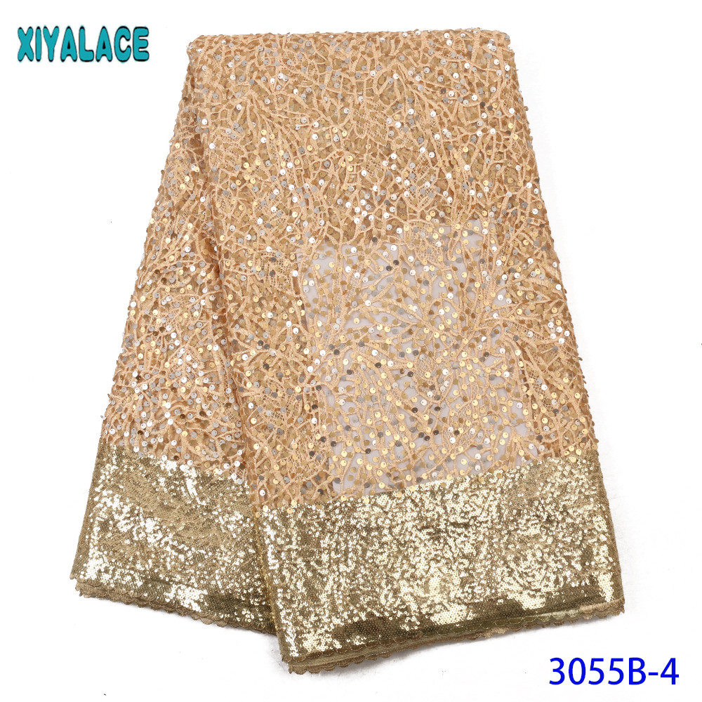 Latest Gold Tulle Lace Fabric High Quality French Lace Fabric Fashion Fabric Lace Embroidery With Sequins KS3055B