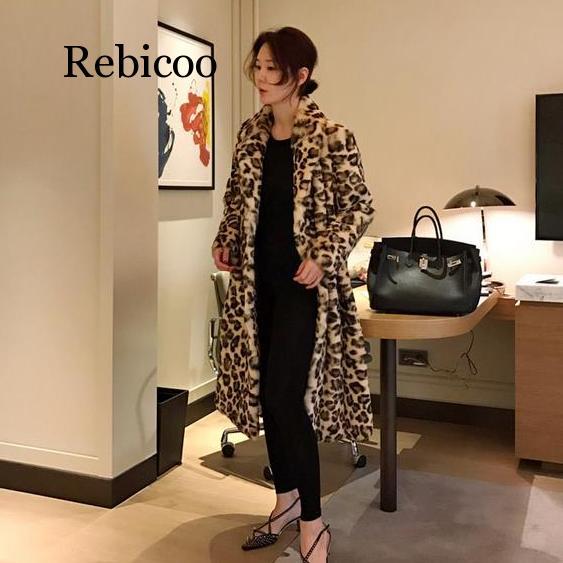 Classic Leopard Print Color Faux Fur Coat Women Long Thick Warm Jackets Fluffy Overcoats Winter Street Outerwear Plus