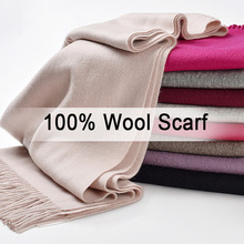 Women 100% Wool Scarf Winter 2019 Luxury Shawls and Wraps for Ladies Solid Pashmina Neckerchief Tassel Warm Pure Scarves