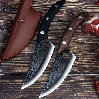 Liang Da 6 inch Boning Knife Handmade Forged Serbian Chef Butcher Kitchen with Full Tang Handle Leather Sheath