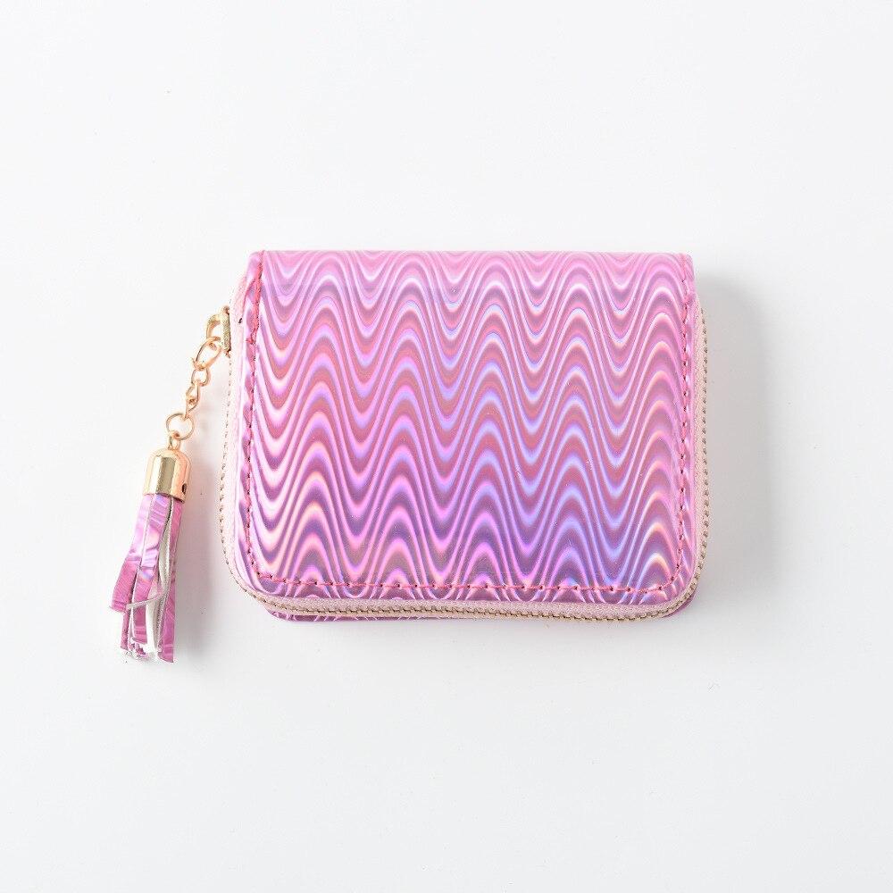 New Laser Short Women Wallet Mini Purse Portfel Holographic Small Wallet Women Zipper Coin Purse ID Card Holder Cartera Mujer
