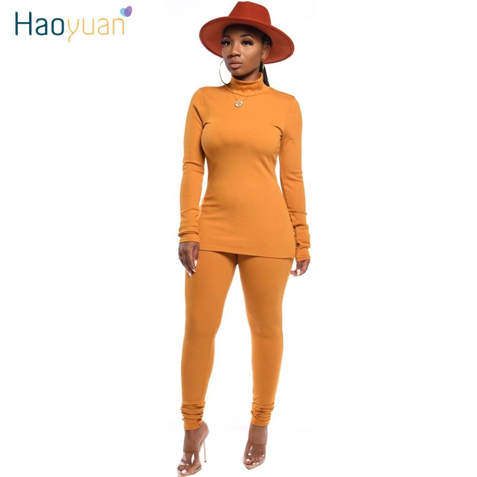 HAOYUAN Knit Two Piece Set Tracksuit Women Clothing Long Sleeve Top Pant Sweat Suits 2 Piece Fall Winter Outfits Matching Sets