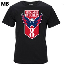 Plus récent 2017 mode manches courtes capitales T-shirt Alex Alexander Ovechkin équipe 8 logo Washington 100% coton T-shirt