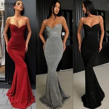 DHL Free Sparkly Spaghetti Strap Long Prom Dresses Sexy Deep V-Neck Mermaid Gowns Custom Make Party Dress Vestidos De Gala