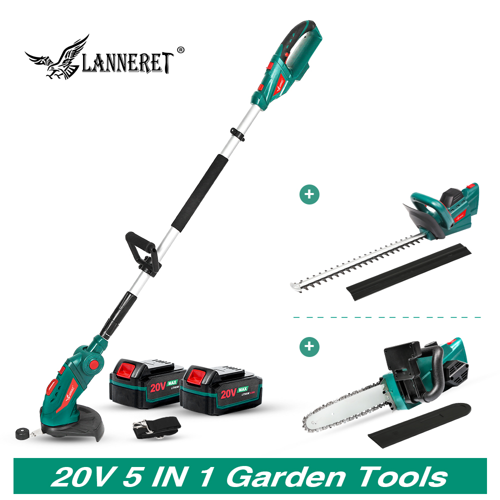 LANNERET 5 IN 1 Hedge Trimme Chainsaw  Grass Trimmer 20V With Telescopic Pole Cordless Chain Saw Garden Trimmer Garden Tools Set