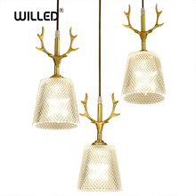 Nordic Antlers LED pendant Lights E14 hanging lamp Creative Glass lampshade bar Restaurant living room decoracion Luminaire(China)